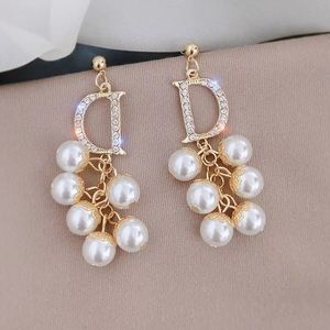 Long D Gold Tone Simulated Pearl Earrings